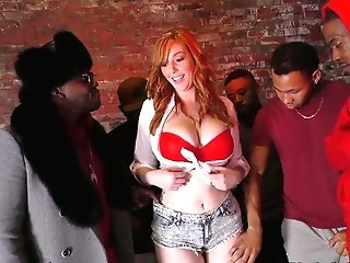 A Few Black Studs Fuck Crimson Haired Barmaid Lauren Phillips