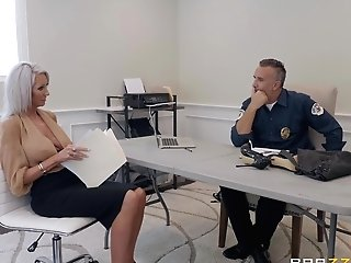 Cougar Mega-bitch Emma Starr Blows A Cop And Gets A Facial Cumshot Instead Of Paying