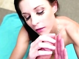 Sweet Cougar Kneels To Gulp After A Deep Point Of View Bj
