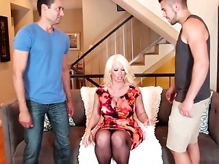 Two Bisexual Dudes Drill Cooch And Butt-hole Of Trampy Big-chested Mummy Alura Jenson