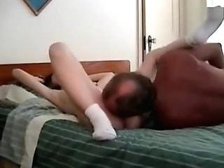 Old Stud Licks Out His Wifes Cunt And Then Fucks Her Taut Cooch