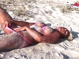 Hot Blonde Cougar Posing Exposing Micro Bathing Suit On The Beach Two