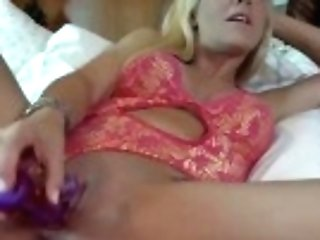 """blonde Cougar Gropes Her Gash And Fucks Herself With Fake Penis"""