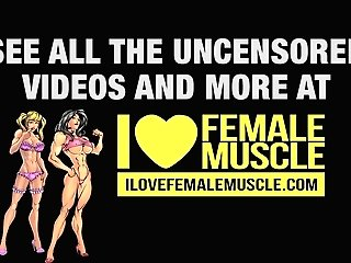 Muscular Female Bodybuilder Lisa Cross Stripped To The Waist Vid