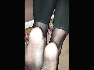 Meaty Jism Geyser On My Matures Friend Nylon Toes