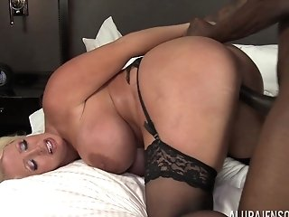 Huge-chested Blonde Bitch Alura Jenson Rails A Big Black Man Rod